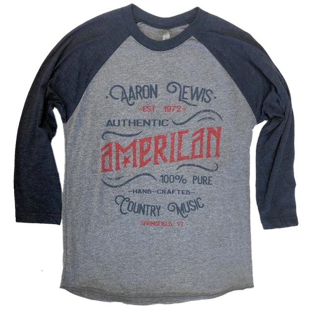 Aaron Lewis Vintage Heather and Navy Raglan- American Country Music