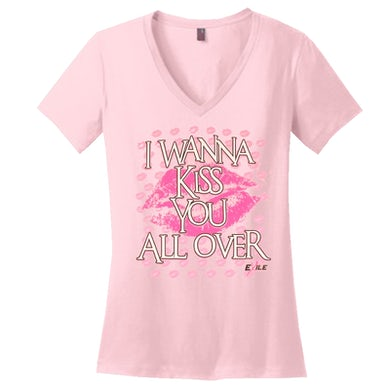 Exile Kiss You All Over Pink V Neck Tee