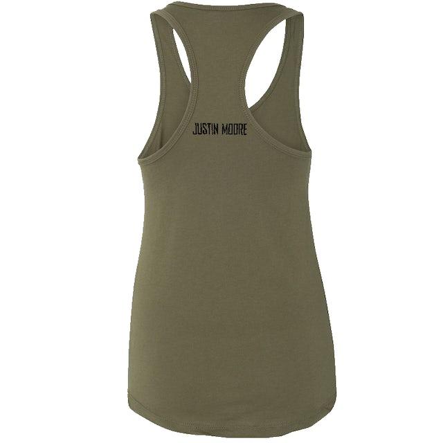 Justin Moore Ladies Military Green  Muscle Tank