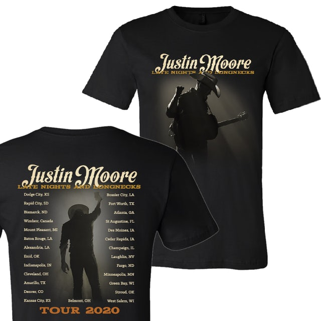 Justin Moore 2020 Late Nights and Long Necks Live Tour Tee