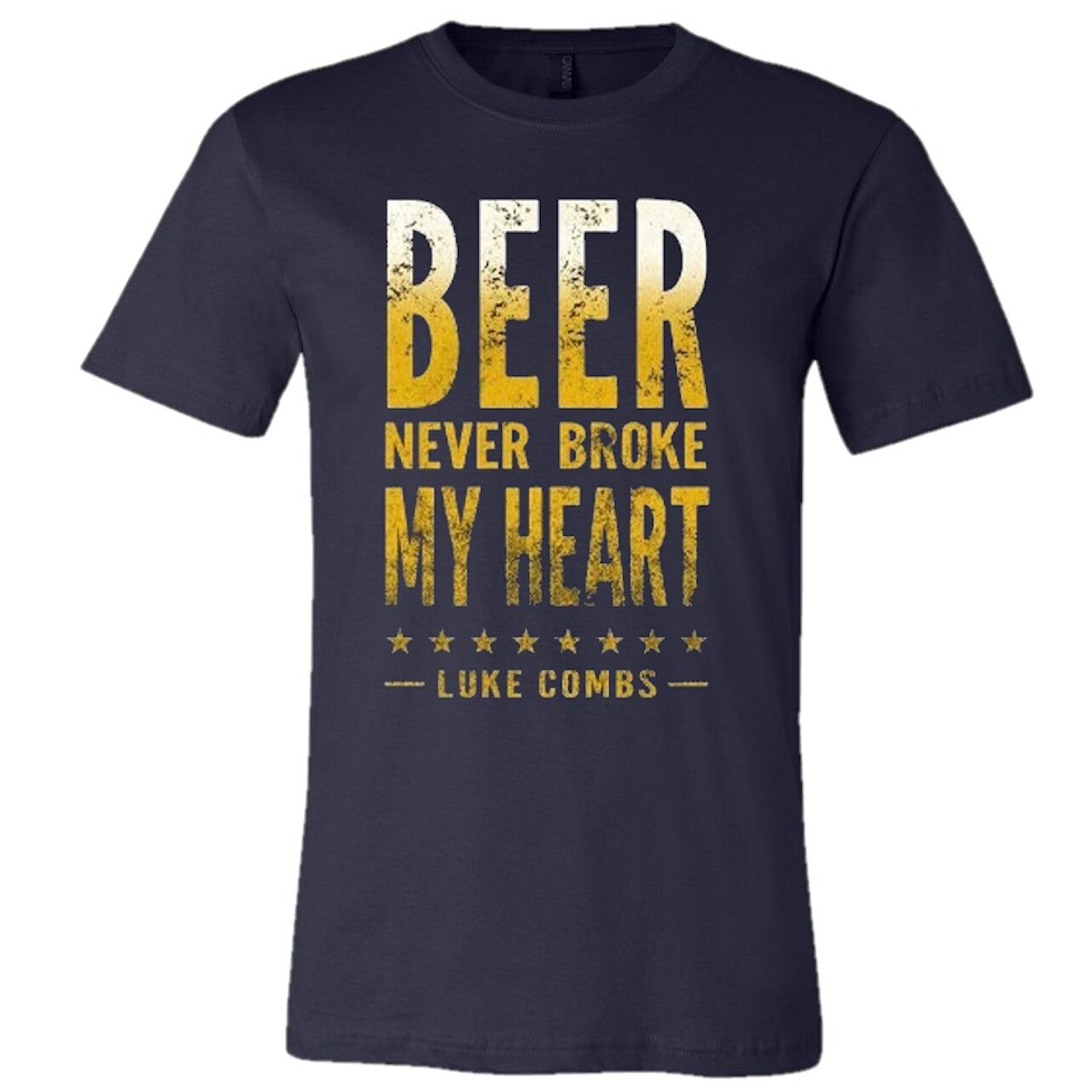 Luke Combs Beer Never Broke My Heart: Luke Combs Navy Beer Never Broke My Heart Tee