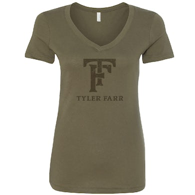 Tyler Farr Ladies Military Green V Neck Tee