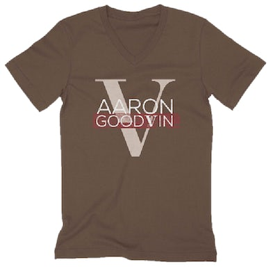 Unisex Brown V Neck Tee