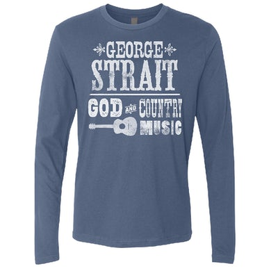 George Strait Long Sleeve Indigo God and Country Music Tee
