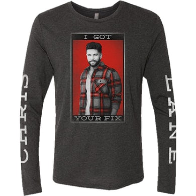 Chris Lane Long Sleeve Heather Charcoal Photo Tee