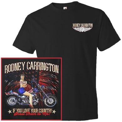Rodney Carrington Black Tee- Motorcycle w/ Fireworks Design