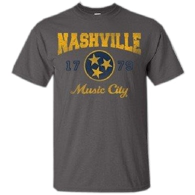 Richards And Southern Nashville Charcoal Tee with Gold and Navy Logo