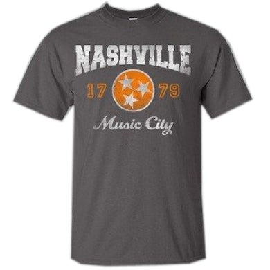 Richards And Southern Nashville Charcoal Tee with Orange Logo