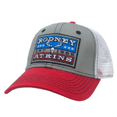 Grey, White and Red Ballcap
