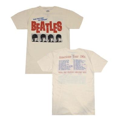The Beatles T Shirt   Beatles American Tour 64 Cream T-Shirt