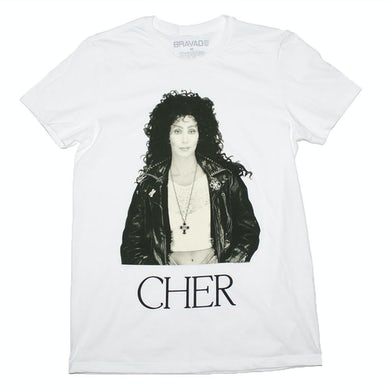 Cher T Shirt | Cher Sepia Leather Jacket T-Shirt