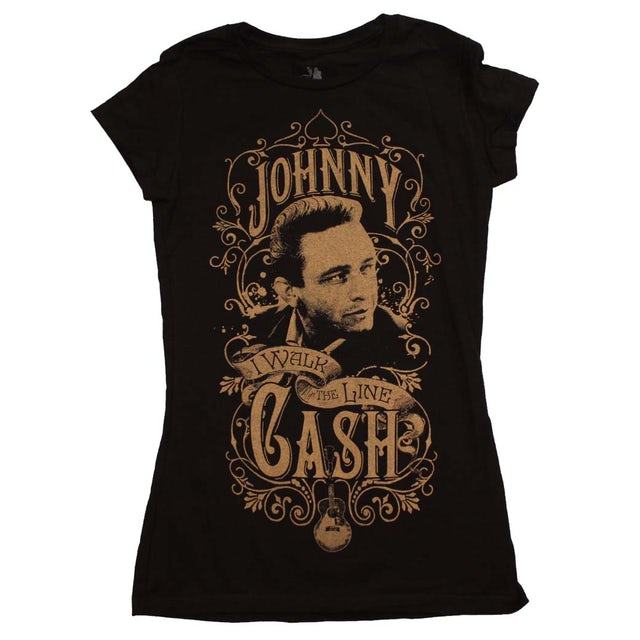 Johnny Cash T Shirt | Johnny Cash Walk the Line Junior's T-Shirt