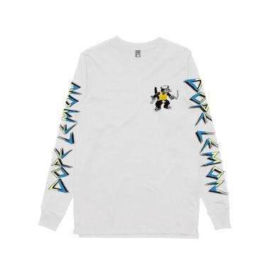 Gun Cat / White Longsleeve T-shirt