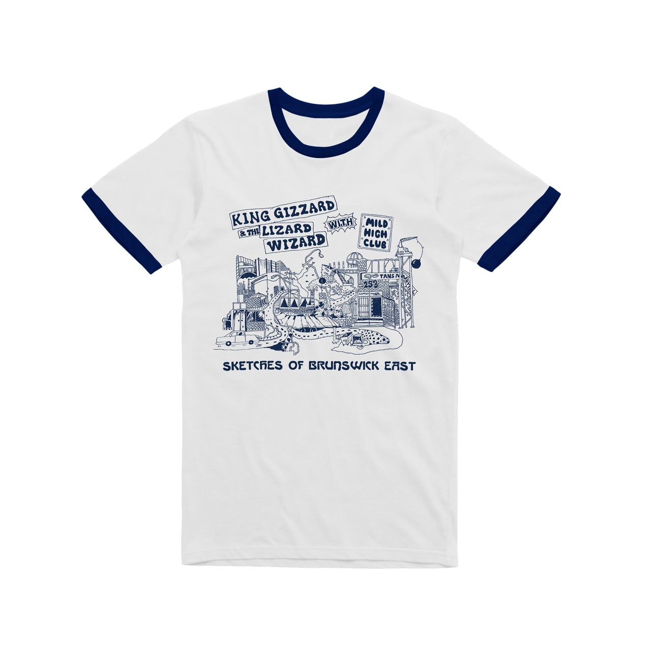 bbf2db1c81 King Gizzard & The Lizard Wizard Sketches of Brunswick / Navy Ringer T-shirt