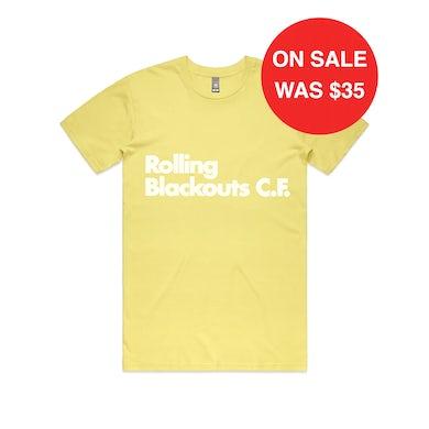 Rolling Blackouts Coastal Fever Font / Yellow T-shirt