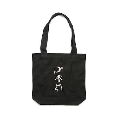 Azure Wolves / Black Tote Bag