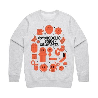 Psychedelic Porn Crumpets Shyga! / Grey Crew Sweatshirt