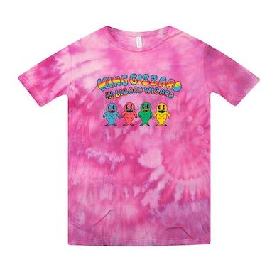 King Gizzard & The Lizard Wizard Fish Family / Pink Tie Dye T-shirt + 'K.G.' Digital Download
