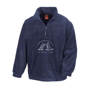 The Pretty Littles Weekend Away White Embroidery / Navy 1/4 Zip Jumper