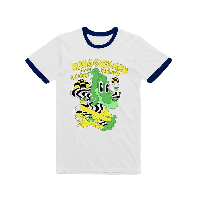 King Gizzard & The Lizard Wizard Balloon Dragons / Navy Ringer White T-shirt