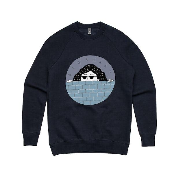 Big Scary Peeping Tom /  Navy Crewneck Sweater.