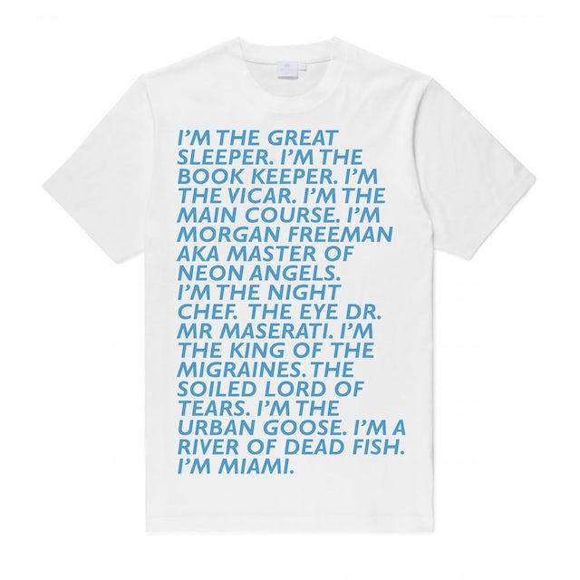 Baxter Dury Miami Verse (Blue On White) T-Shirt