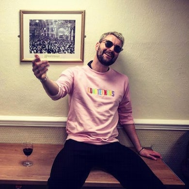 Courteeners Unisex Pastel Pink Sweatshirt with multi-coloured embroidery