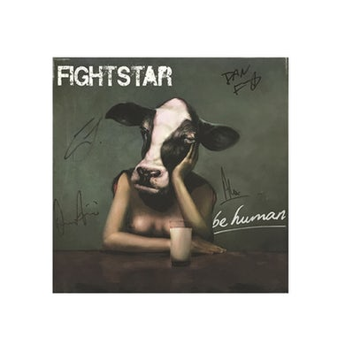 Fightstar Cows Head Be Human Signed Canvas Picture