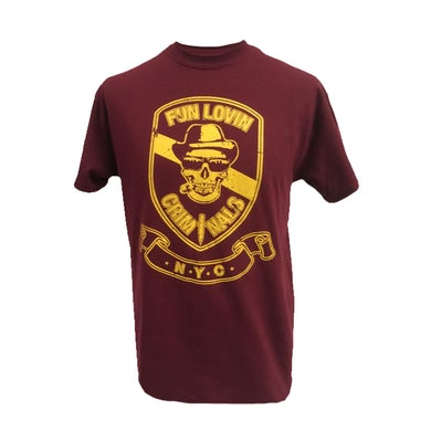 Fun Lovin Criminals Burgundy Skull T-Shirt