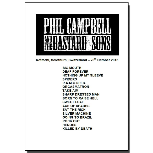 Phil Campbell and the Bastard Sons Set List From Solothurn Show (Signed)