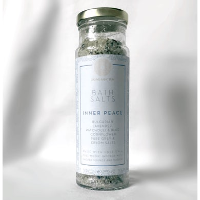 Sasha Siem Sound Sanctum Inner Peace Bath Salts. Bulgarian Lavender, Patchouli And Blue Cornflower Pure Grey And Epsom Salt