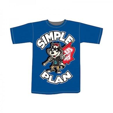 Simple Plan Ladies Fit Blue Raccoon T-Shirt
