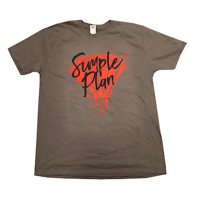 Simple Plan Grey Painted Diamond T-Shirt