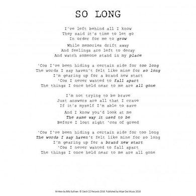 The Spitfires A4 So Long Lyrics Sheet (Signed)