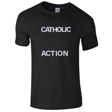 CATHOLIC ACTION Black Logo T-Shirt
