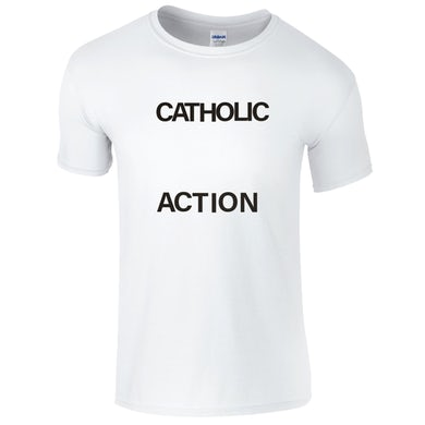 CATHOLIC ACTION White Logo T-Shirt