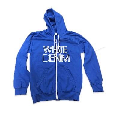 White Denim  Zip Hoodie