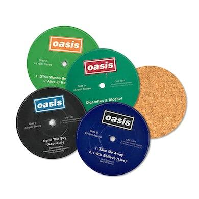 Oasis Singles Vinyl Labels 8 x Coaster Set