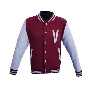 The Vaccines 'V' Logo Burgundy/Heather Grey Varsity Jacket