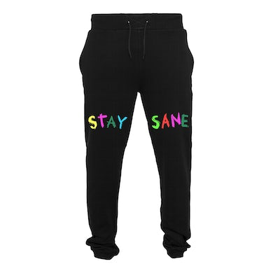 Ocean Wisdom Stay Sane Black Embroidered Tracksuit Bottoms