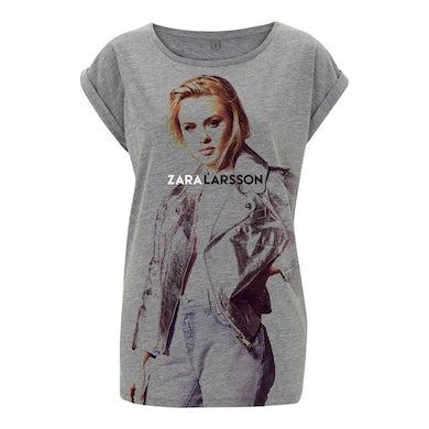 Zara Larsson Jumbo Photo Ladies Roll Sleeve Grey T-Shirt
