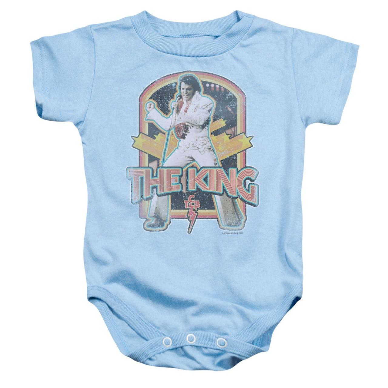 37177400f Elvis Presley Baby Onesie   DISTRESSED KING Infant Snapsuit