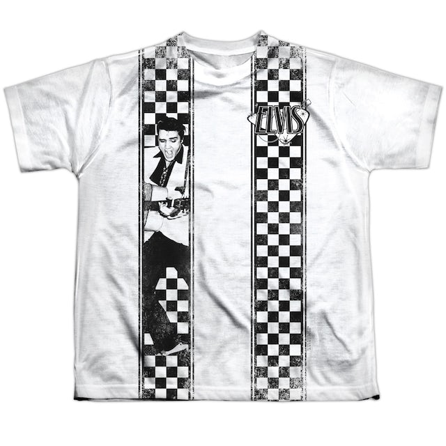 Elvis Presley Youth Shirt   CHECKERED BOWLING SHIRT Sublimated Tee