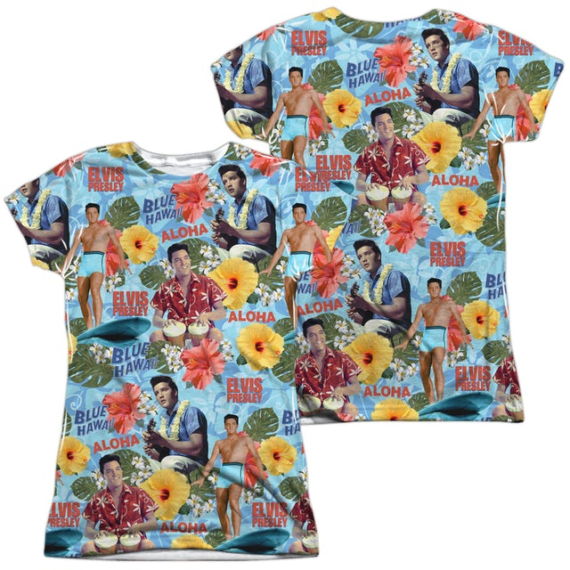 Elvis Presley Junior's T Shirt   SURF'S UP (FRONT/BACK PRINT) Sublimated Tee