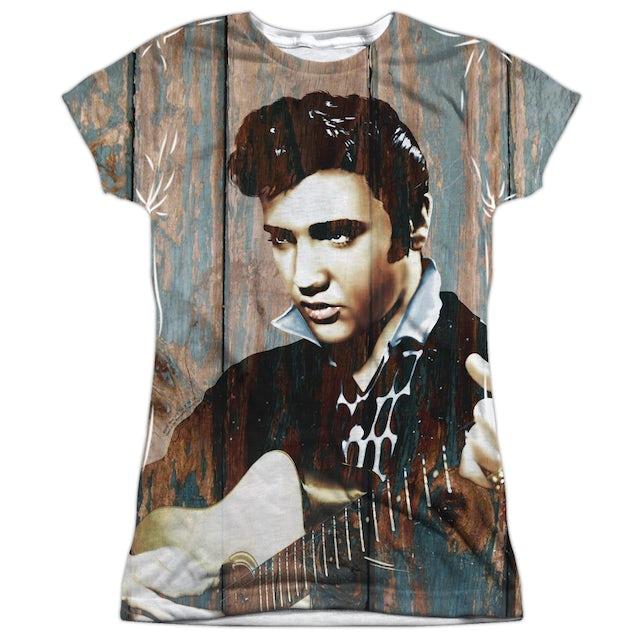 Elvis Presley Junior's T Shirt | WOODGRAIN (FRONT/BACK PRINT) Sublimated Tee