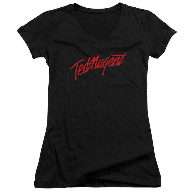 Ted Nugent Junior's V-Neck Shirt | DISTRESS LOGO Junior's Tee