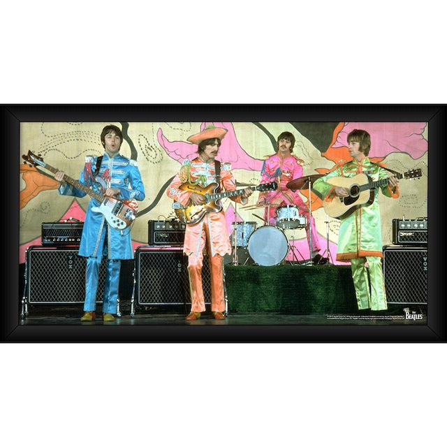 The Beatles 1967 'Sgt. Pepper Lonely Hearts Costumes' 10x20 Framed Photo