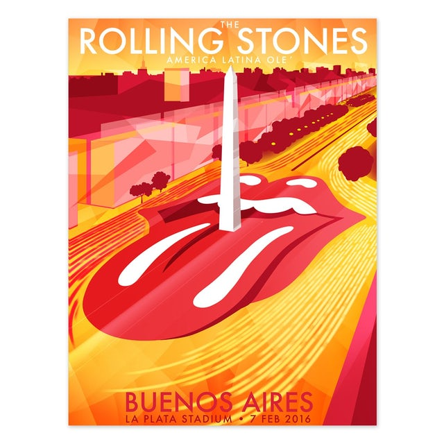 The Rolling Stones Buenos Aires Obelisk Poster