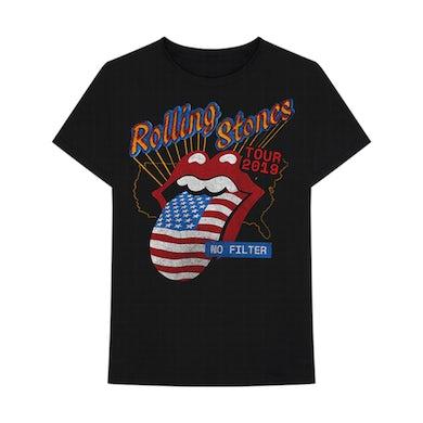 US Flag Tongue Black T-Shirt