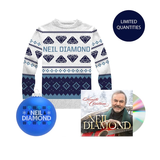 Neil Diamond Acoustic Christmas CD + Holiday Knit Sweater + Holiday Ornament